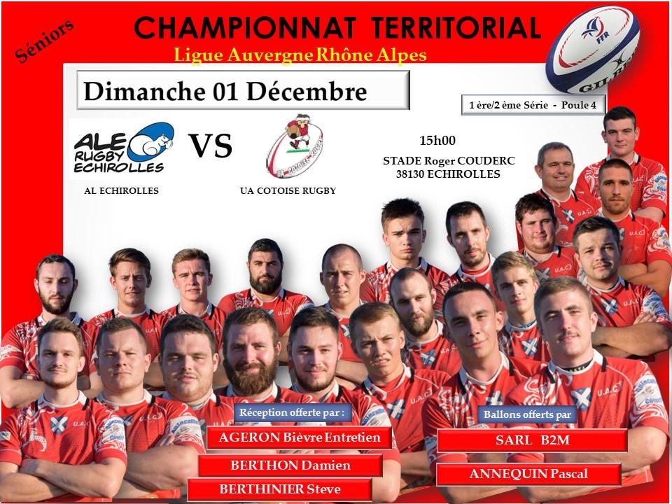 Affiche match al echirolles vs uac 01 decembre 2019