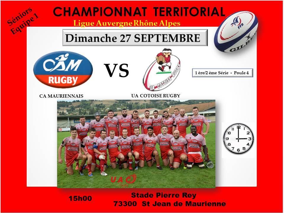 Affiche match ca maurennais vs uac le 27 septembre 2020