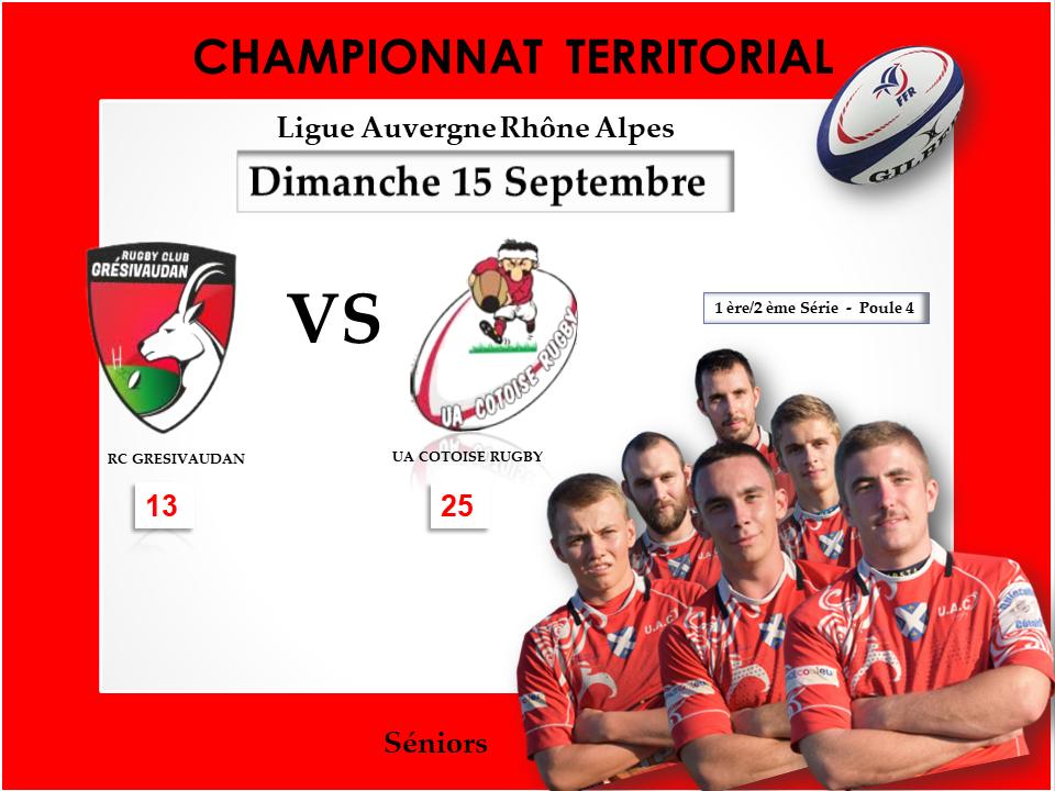 Affiche match gresivaudan vs uac resultats