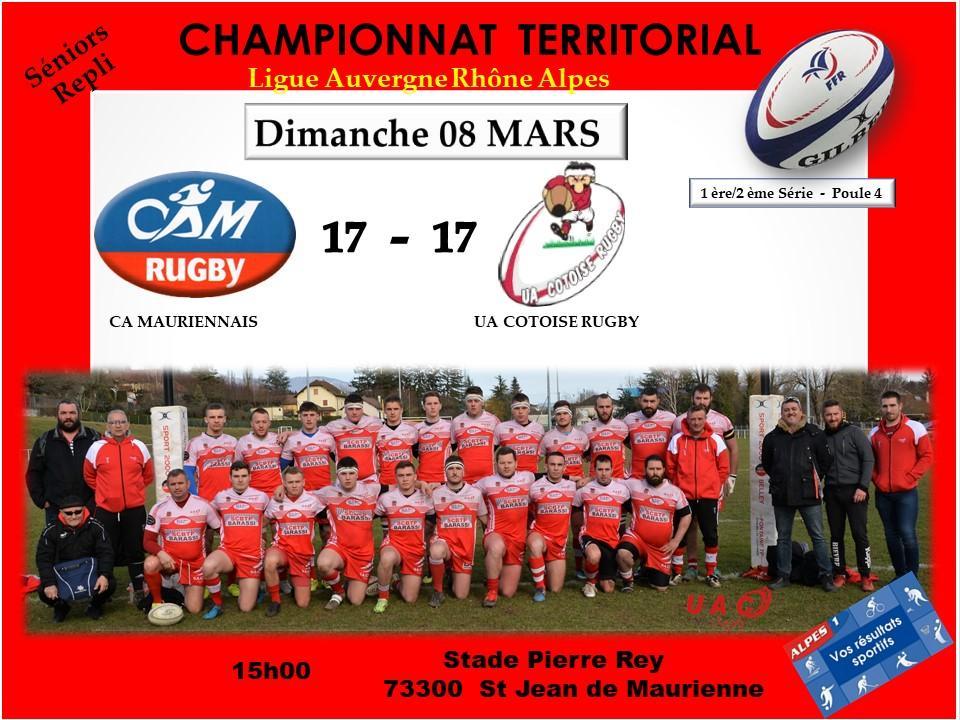 Affiche match resultatca maurennais vs uac le 09 mars 2020