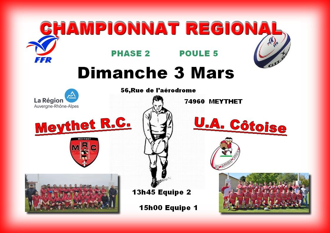 Affiche match seniors du 10 03 2019 meythet vs uac