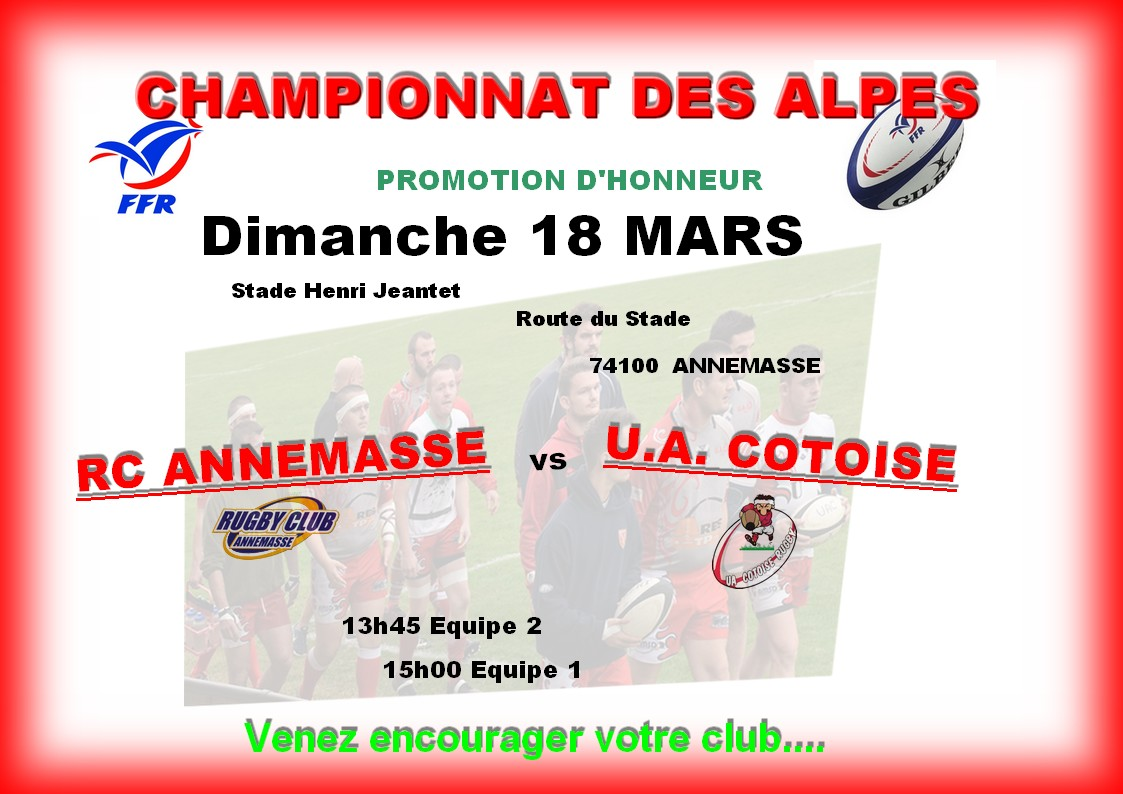 Affiche match seniors du 11032018 annemasses 1