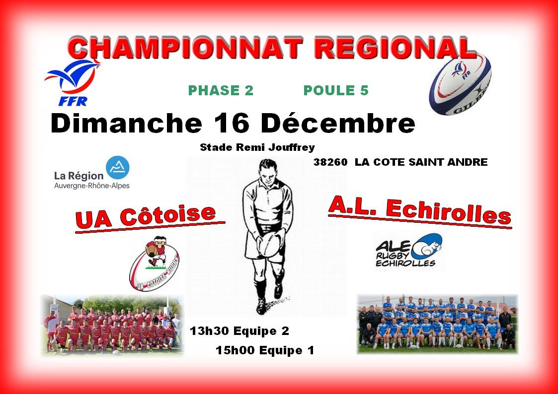 Affiche match seniors du 16 12 2018 uac vs al echirolles