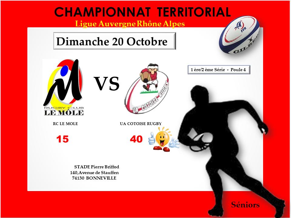 Affiche match seniorsrc le mole vs uac journee 7