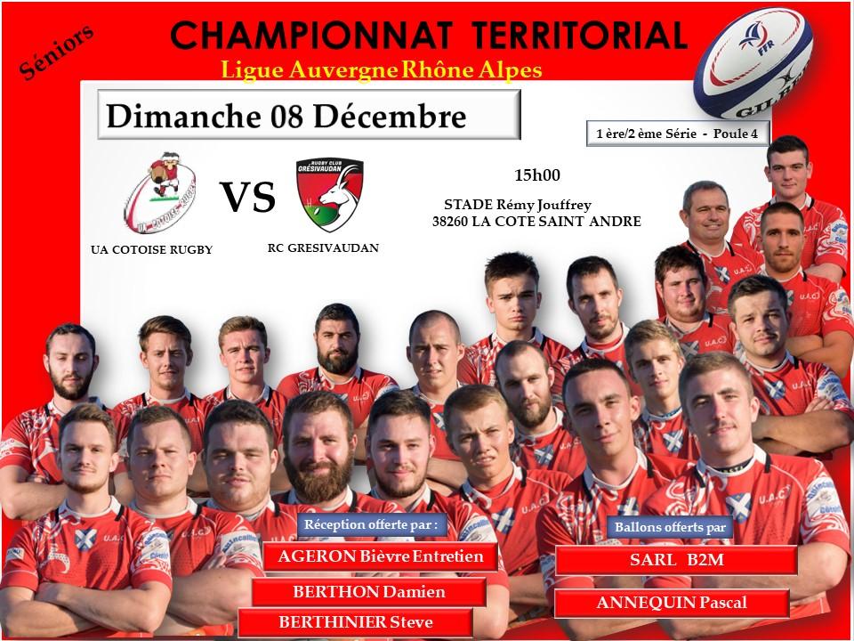 Affiche match uac vs rc gresivaudan 08 decembre 2019