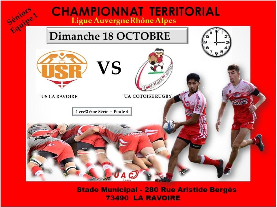 Affiche match us la ravoire vs uac le 18 octobre 2020