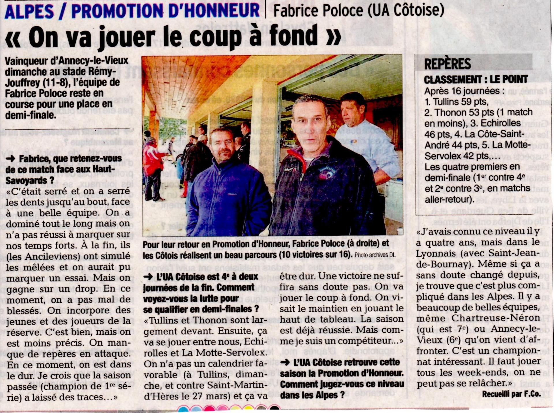 Article paru dauphine libere du 8 mars 2016