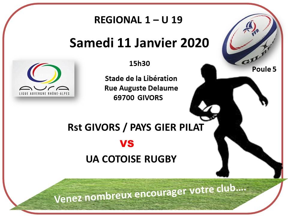Juniors samedi 11 janvier 2020 regional 1 poule 5 13h30