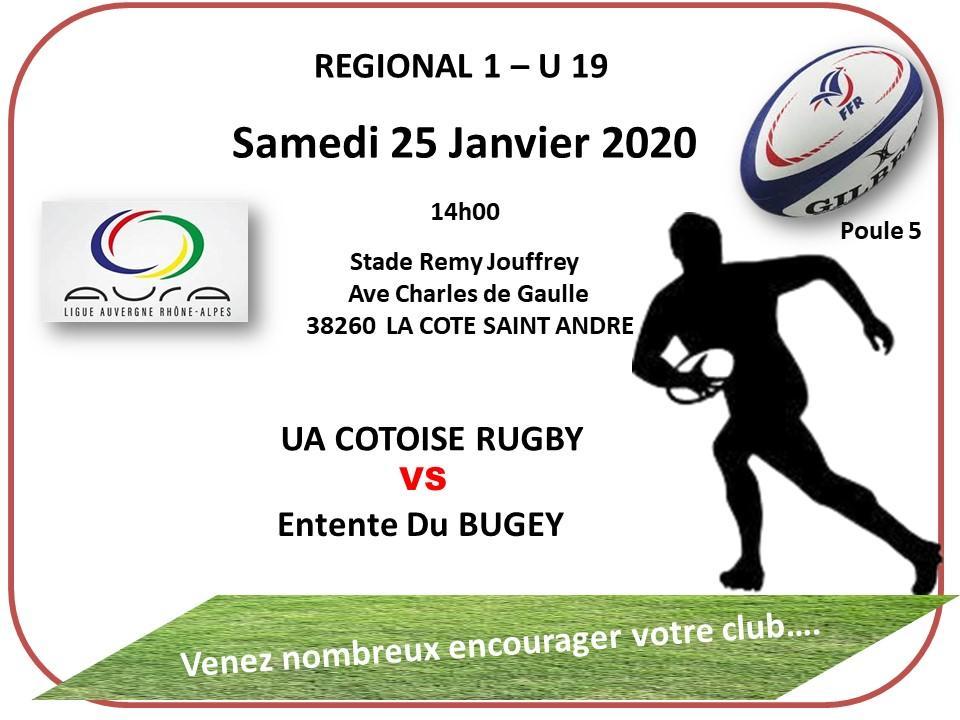 Juniors samedi 25 janvier 2020 regional 1 poule 5 14h00