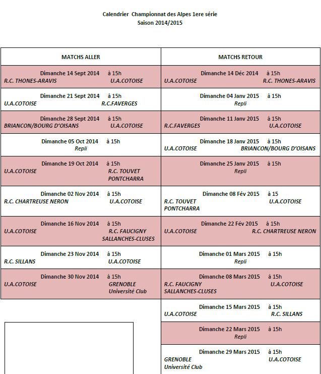 Programme championnat des alpes saison 2014 2015